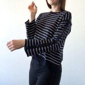 Topshop asymmetric striped bell sleeve buttons euc